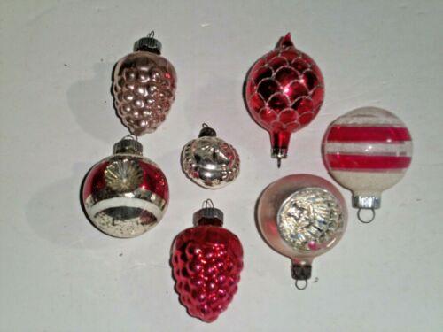 7 Vintage Christmas Ornaments~Small Sizes~4 Shiny Brite~2 Poland~Center 1930