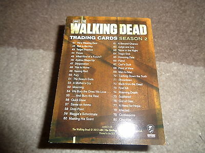 WALKING DEAD SEASON 2 TRADING CARDS, 1 TO 80 COMPLETE BASE CARD SET