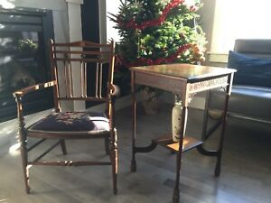 antique solidwood chair and matching table
