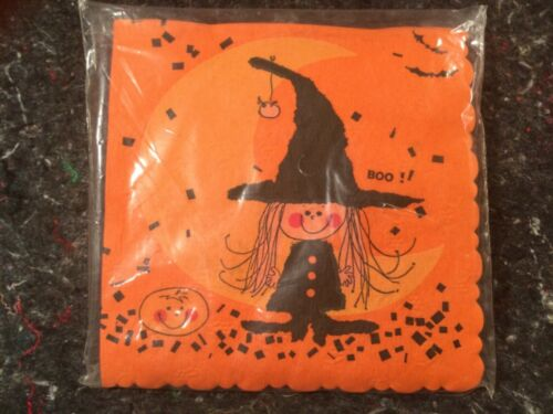 VINTAGE HALLOWEEN GIBSON PAKAY UNOPENED PACKAGE OF NAPKINS YOUNG WITCH BOO!!!