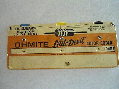 Seattle 1971 Vtg Ohmite Little Devil Resistor Color Guide Fleehart /& Sullivan