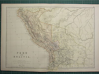 1882 LARGE ANTIQUE MAP ~ SOUTH AMERICA ~ PERU & BOLIVIA