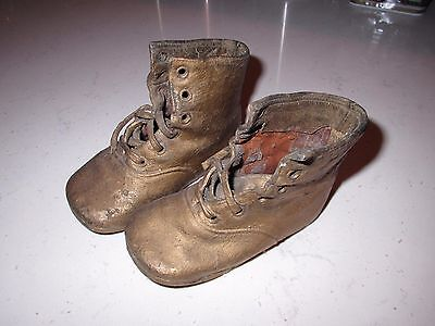 *ANTIQUE/VINTAGE 1930'S GOLD SPRAYED HI-TOP BABY SHOES ONE OWNER FABULOUS SHOES*
