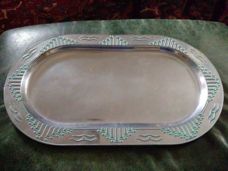 """Wilton Armetale ZIA Turquoise 18"""" Serving Tray Southwest Pattern Made in USA EUC"""