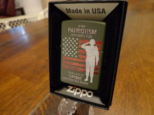IF MY PATRIOTISM OFFENDS YOU / SOLDIER AMERICAN FLAG ZIPPO LIGHTER MINT IN BOX