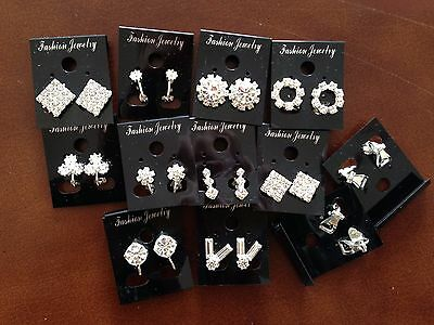 JOB LOT-10 pairs clip on crystal diamonte earrings.Silver plated.UK handmade.