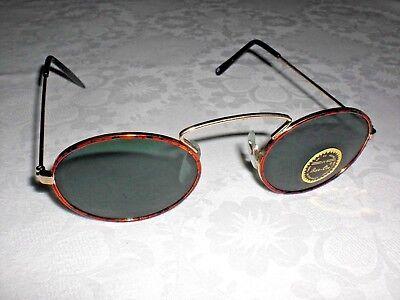 Sonnenbrille, bunter Metallrahmen mit Bügel, grünes Glas
