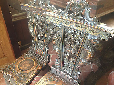 Pair Fine Carved Sgabello Walnut Renaissance Style Chairs Caryatid Griifin Demon