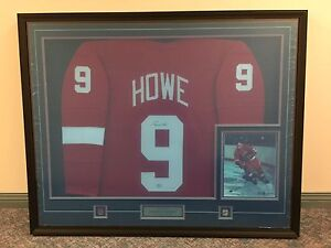Framed autographed Gordie Howe jersey and photograph