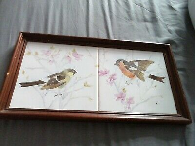 Tiles hand painted. Panel 2 Wall Hang Tiles 2 birds Framed. vintage.