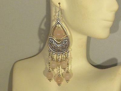 Gemstone Earrings - Rose Quartz with 925 Sterling Silver - long pink chandeliers