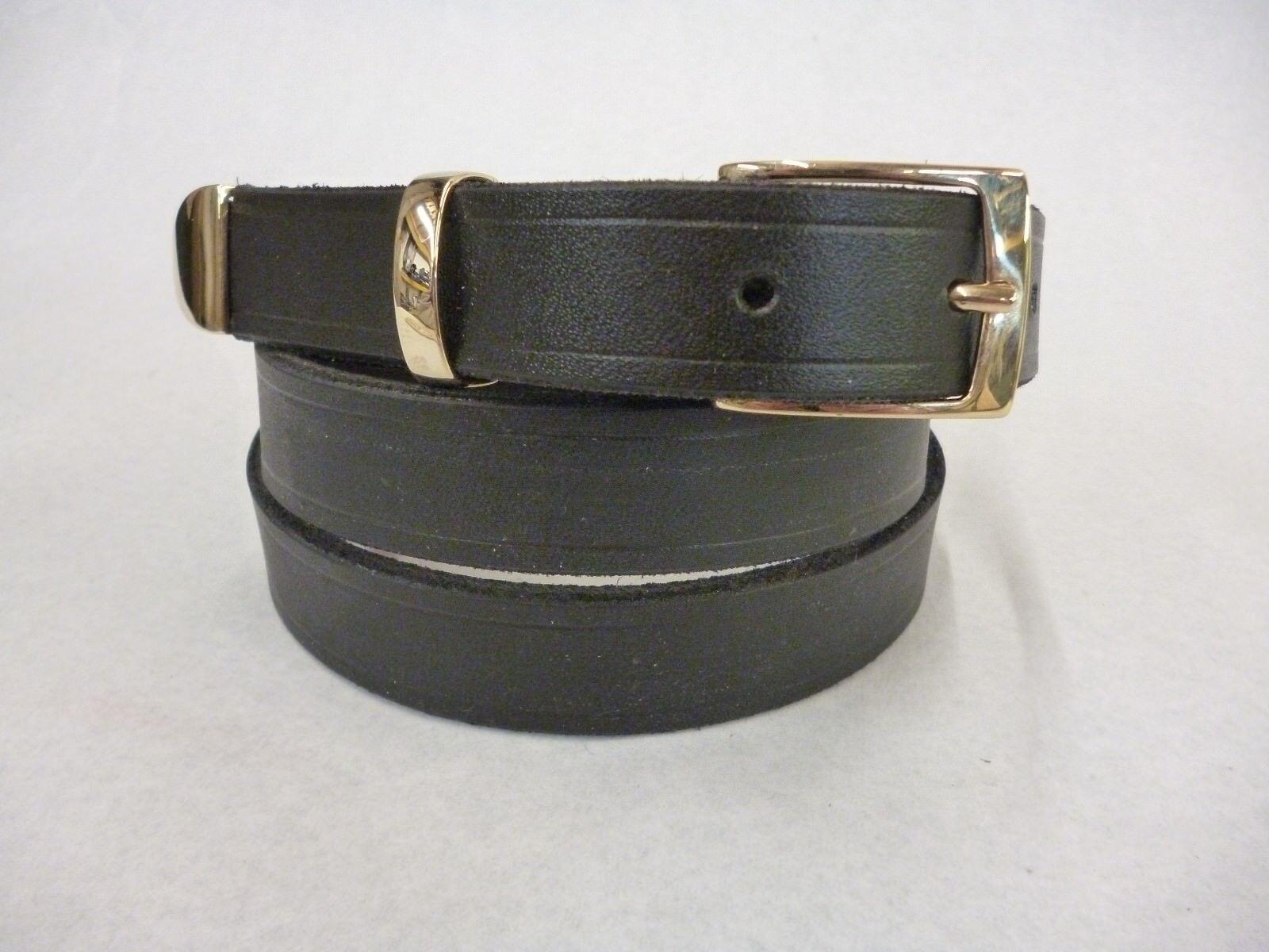 Black Real Bridle leather western Gold 3 Piece Tip Buckle Belt 25 mm Handmade t1