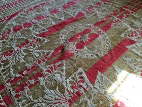 wonderful Antique 19th Hand Woven WOOL Coverlet  Homespun