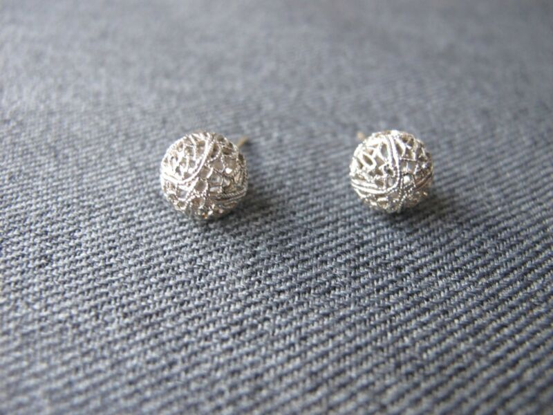 Vintage filigree silvered metal bead & painted turquoise metal earrings