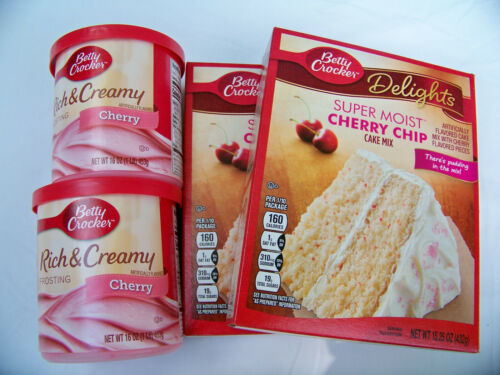 (4 PK. Bundle) 2 Betty Crocker Cherry Chip Cake Mix 15.25 & 2 Cherry Icing