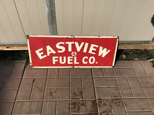 Vintage eastview fuel company sign gas and oil cans collectibles