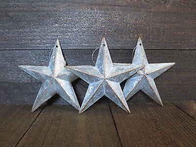 "Lot of 3 Galvanized Primitive Rusty Metal Barn Stars 6"" Rustic Country Tin"