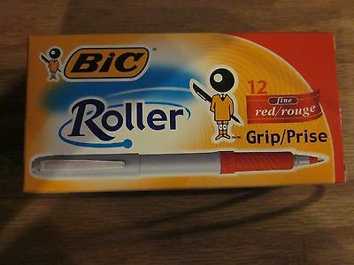 12 Bic Roller Red Grip 31205 0.4 Mm Fine Free Shipping