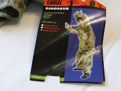 Green Dinosaur Jumpsuit Halloween Child Costume L 47' NWT tail head full body  (Full Dinosaur Costume)