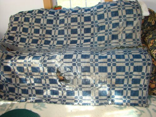 """Antique Vintage Victorian Overshot Coverlet in blue and tan cutter 68"""" L x 80"""" W"""