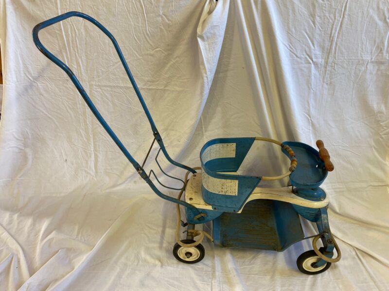 Rare Taylor Tot Antique Vintage Stroller and Walker Fender Blue