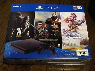 Sony PlayStation 4 PS4 Slim 1TB Console w/ 3 Games Last of Us God of War Horizon