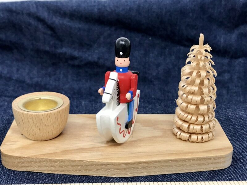 Erzgebirge Soldier Horse Tree Handcrafted Place Setting Candleholder Germany NWT