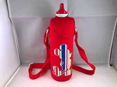 Disney Mickey Mouse aluminum water bottle with red neoprene sleeve