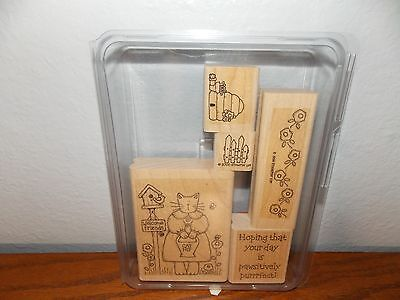 (Stampin Up Pawsitively Purrrfect Border Cat Friends 5 Wood Mounted Stamps L1216)