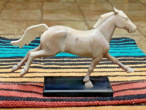 VINTAGE WOOD RUNNING HORSE SCULPTURE SIGNED HANDMADE
