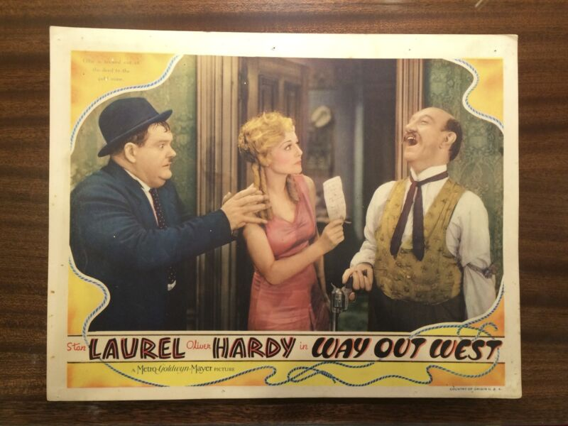 """Laurel And Hardy """"Way Out West"""" ORIGINAL 1937 Lobby Card"""