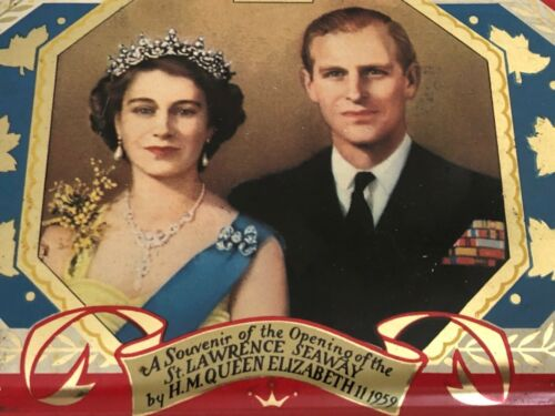 VINTAGE 1959 Queen Elizabeth Prince Philip gift royal Tin St Lawrence Seaway