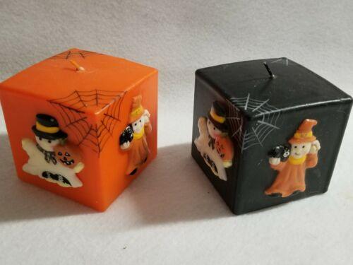 "Halloween Decoration Set 2 Square 3"" Candles Orange Black Ghosts Skull Pumpkin"