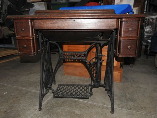 Antique Singer Treadle Sewing Machine with Cabinet & Drawers