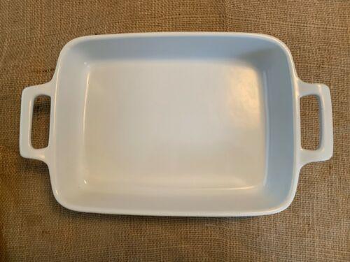 Eurogres Portugal White Enameled Stoneware 9x13 Casserole Lasagne Baker Handles
