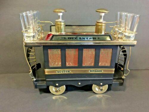 Vintage Musical Trolley Decanter Bar Set w/ 6 Shot Glasses