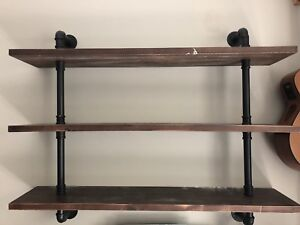Wood/ industrial pipe shelves