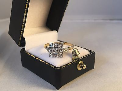 LOVELY 18ct Yellow Gold and Platinum Art Deco Diamond Ring SIZE P