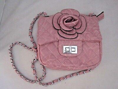Mellow World Pink Flower Raised Petal Rose handbag Strap Whimsical purse.