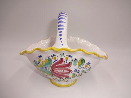 Modra Pottery Ceramic Basket Flowers White Yellow Slovakia Czechoslovakia Marked