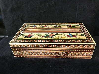 Persian Iran Khatam Inlaid Marquetry Wood Tissue Box Holder w/Hand Painted Scene