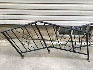 Vintage wrought iron railings 3 step