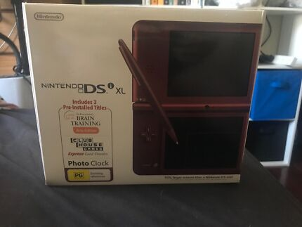 Nintendo DS XL with games and chargers