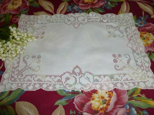 Antique Classic Italian PUNTO TIRATO Embroidered Lace Tray Mat-Placemat Doily