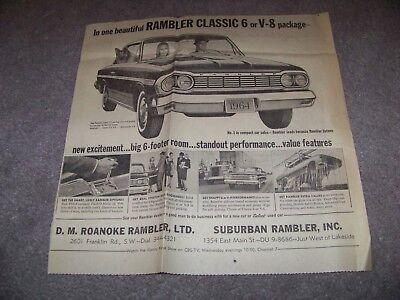 1963 The Roanoke Times Virginia D  M  Roanoke Rambler Suburban Rambler Ad