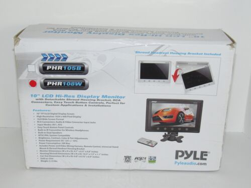 """NEW Pyle PHR108W 10"""" LCD Hi-Res Display Monitor Headrest Shroud RCA and Remote"""