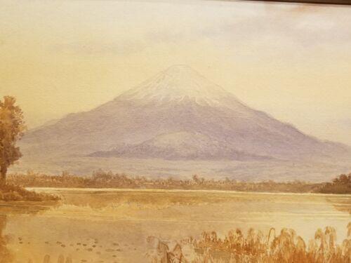 R. Hidesaki 1900-1920 Taisho period Japanese watercolor painting print