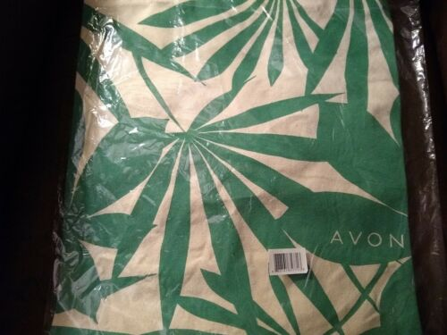 AVON Canvas Green Palm Tote Bag - NIP