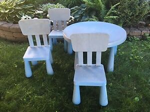 IKEA mammut table and 3 chairs