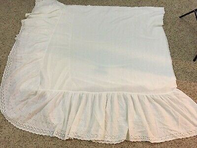"- VTG King Bed Skirt Dust Ruffle White Eyelet 13"" Drop USA Cottage Country"
